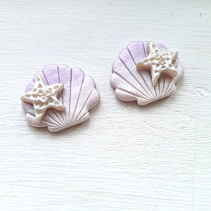 Treasures of the Sea Series Starfish on Shell Studs (Lilac)
