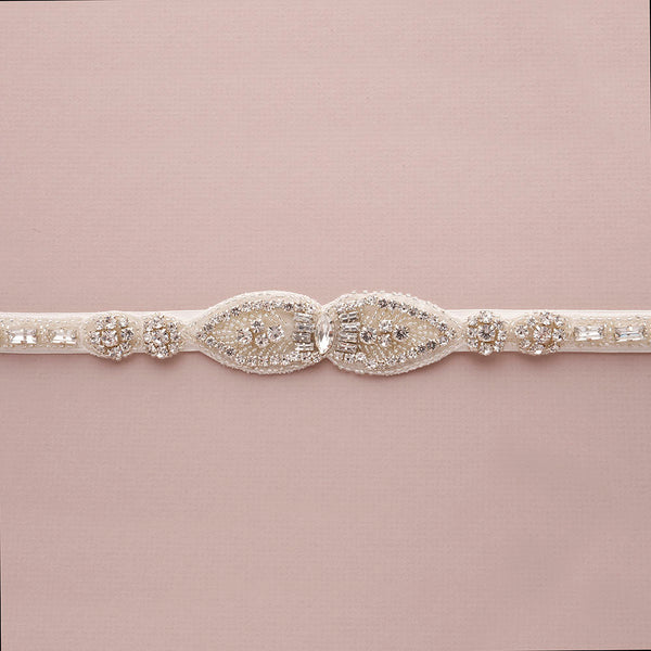 Peony Bridal Belt with Ribbon Ties