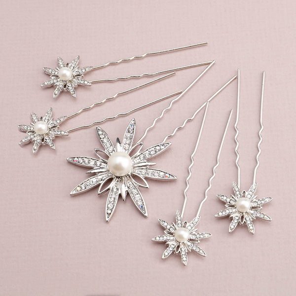 Portia Bridal Hair Pins, Set of 5