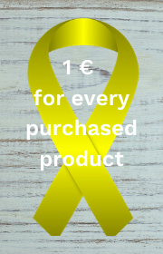 The symbol for children's cancer, the yellow ribbon with the text 1 Euro for each product purchased above it in a background made of gray wood