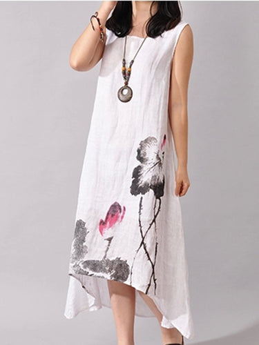 High-Low Round Neck Printed Maxi Dress 2ef9bb78a