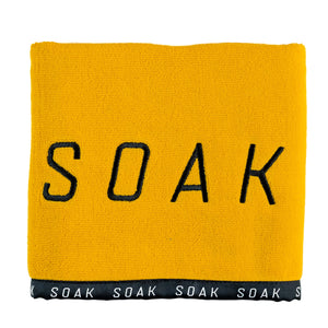 Yellow cotton gym sports black embroidery towel front