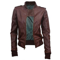 Super Tweed Women Bomber Leather Jackets