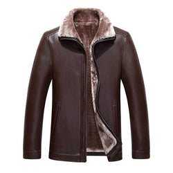 Thickening Warm Windbreak Lamb Fur Collar mens leather Jackets and Coat