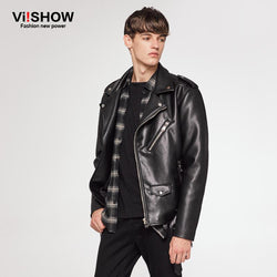 VIISHOW NEW Brand Men Motorcycle Leather Jacket