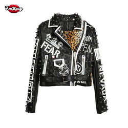 Women Punk Party Street Letter Printing Leather Jacket