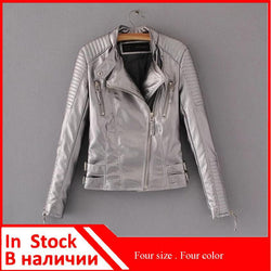 Waist Zippers Draped Cross Fashion Women Black Slim Leather Jacket