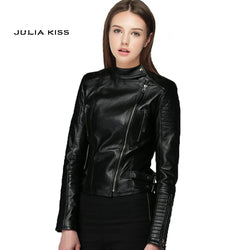 Women PU Leather Jacket new high Fashion