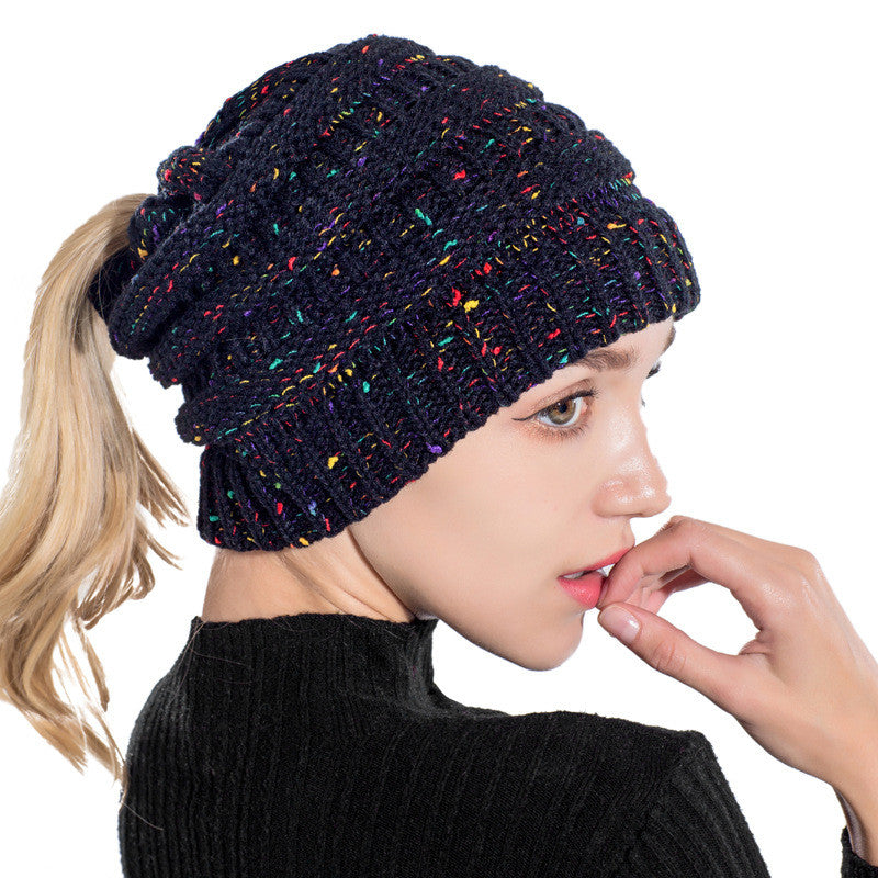 Multi Color Soft Knit Billed Ponytail Beanie