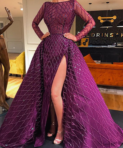 Mermaid Evening Dress Long Sleeves Detachable Train
