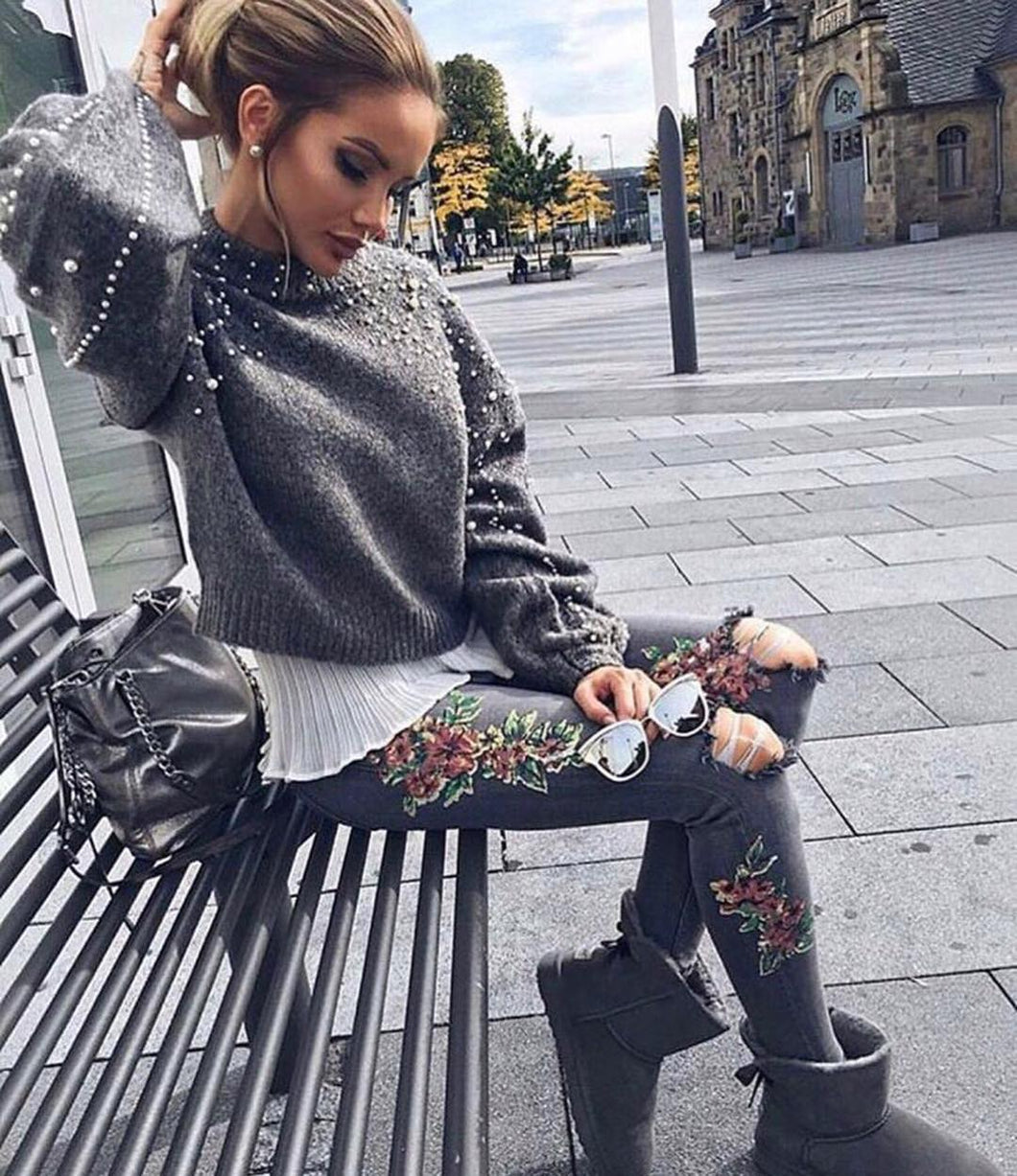 Beaded Lantern Sleeve Sweater