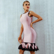Load image into Gallery viewer, Pink Lace Bottom Dress