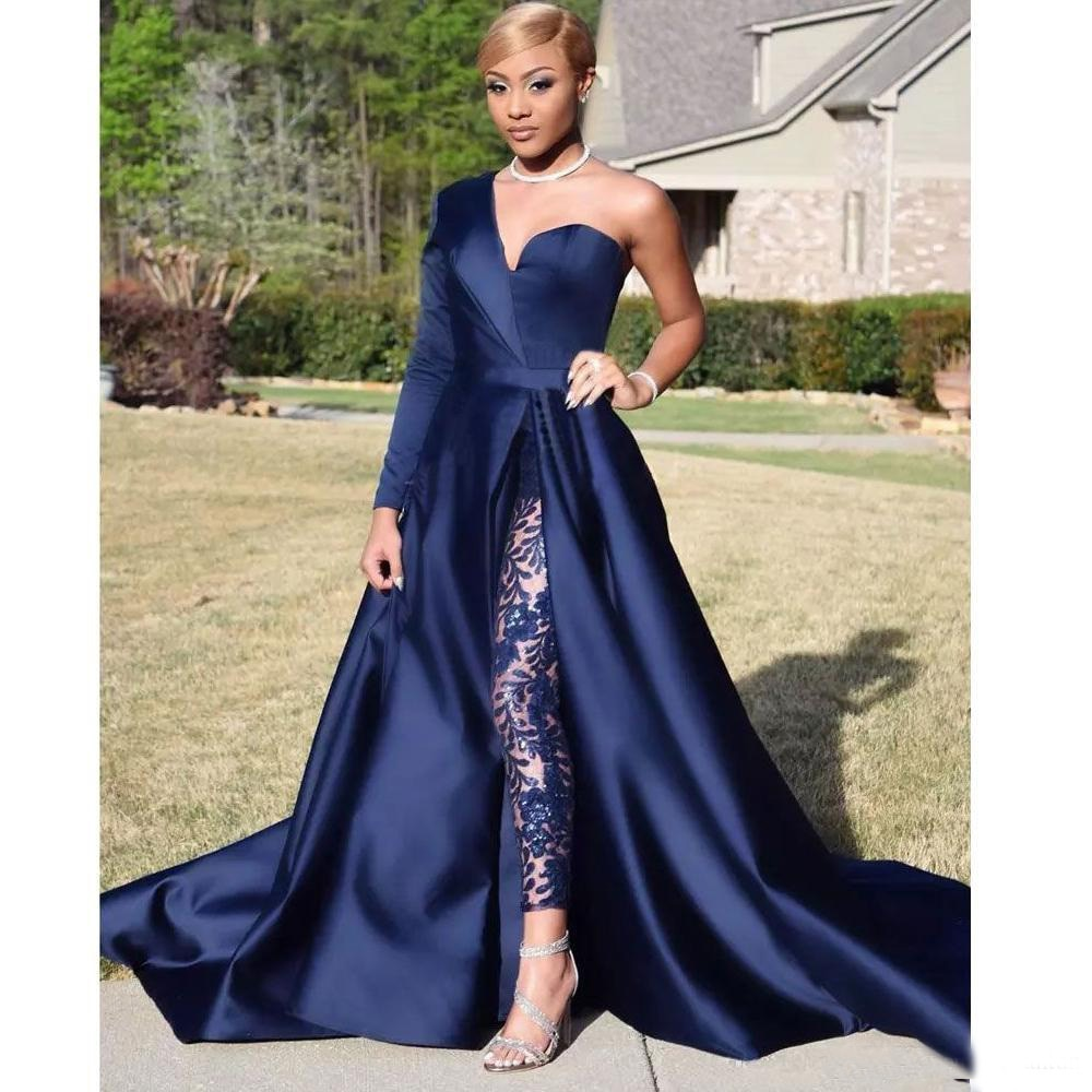 Navy Evening Jumpsuit with Train