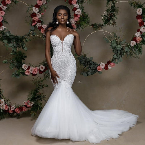 Sweetheart Strapless Lace Beaded Wedding Gown