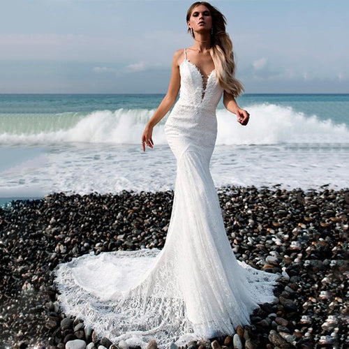 Lace Spaghetti Straps Backless Mermaid Wedding Dress