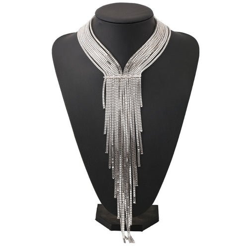Long Chain Tassel Collar Necklace