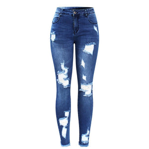 Blue Tassel Ripped Jeans