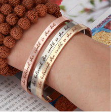 Load image into Gallery viewer, She Believed She Could So She Did Cuff Bracelet
