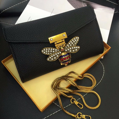 Leather Bee Clutch