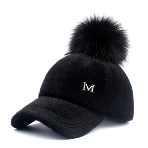 Faux Fur Pompom Ball Cap