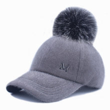 Load image into Gallery viewer, Faux Fur Pompom Ball Cap