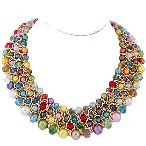 Multi-Colored Pearl Bead Necklace