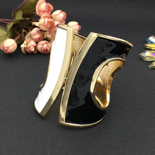 Black\White\Gold Tone Cuff Bracelet