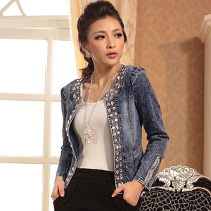 Denim Rhinestone Jacket
