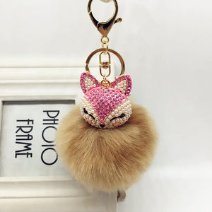 Crystal Pearl Rabbit Fur Key Chain