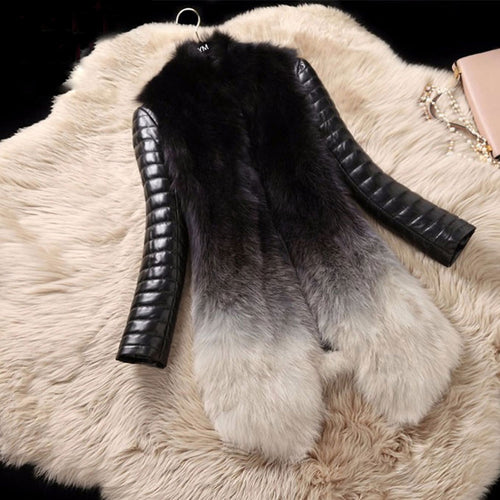 Fox Fur Coat Long Sleeve Genuine Leather Jacket