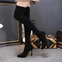 Load image into Gallery viewer, Microfiber Over-The-Knee High Heel Boots