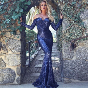 Elegant Off Shoulder Sequin Mermaid Dress