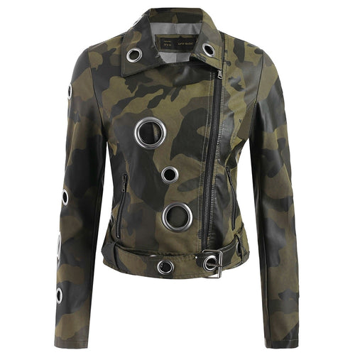 Eyelet Camouflage Faux Leather Jacket