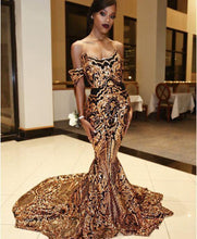 Load image into Gallery viewer, Vintage Arabic Gold Mermaid Evening Dresses
