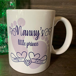 Want something exclusive, want to bring a tear to the eye, look no further you have found the most amazing gift any nanny or granddad would love. morning coffee/tea with a picture of their grand child, perfect.
