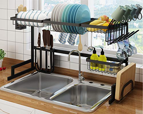 Kitchen Storage Over The Sink Dish Drying Rack, Large Drainer Shelf Kitchen Organization and Storage Apartment Calapsable Dish Drainer for Kitchen Counter Over, Utensils Basket Holder