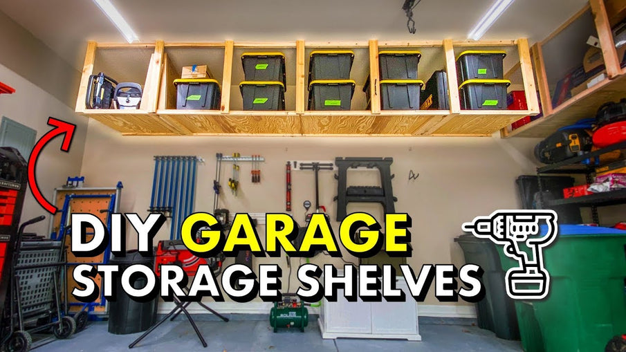 Learn how to build simple, cheap garage storage shelves that use the wasted space above your garage door! Reclaim your garage with this easy weekend ...
