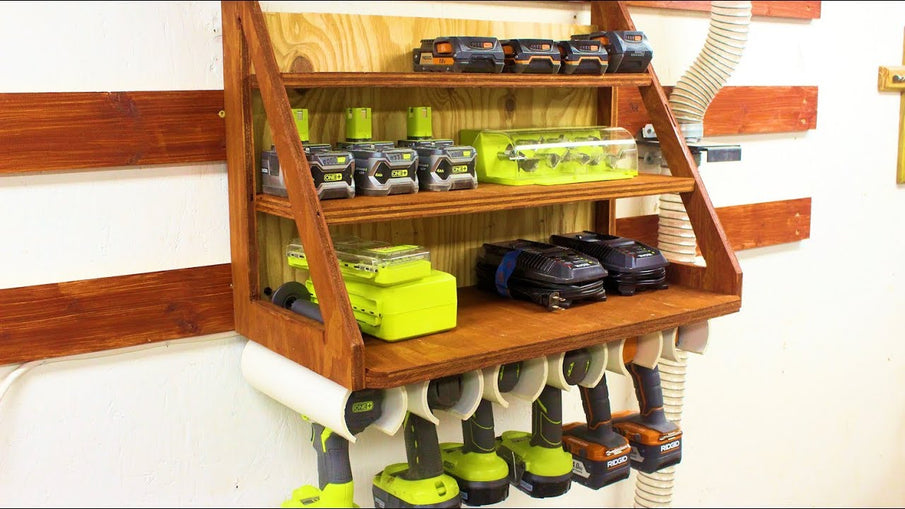 Cordless Drill Charging and Storage Rack My cordless drills, batteries, and chargers were taking up a lot of space, so built this charging station and storage rack ...