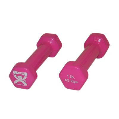 CanDoå¨ vinyl coated dumbbell - 1 lb. - Pink, pair