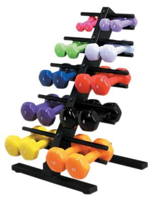 CanDoå¨ vinyl coated dumbbell - 10 Piece Set with Floor Rack - 2 each 1, 2, 3, 4, 5
