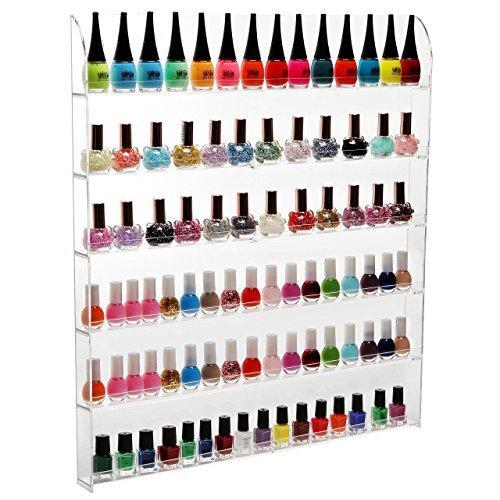 (102 Bottles) 6 Shelf Pro Clear Acrylic Nail Polish Rack / Salon Wall Mounted Organizer Display - MyGift