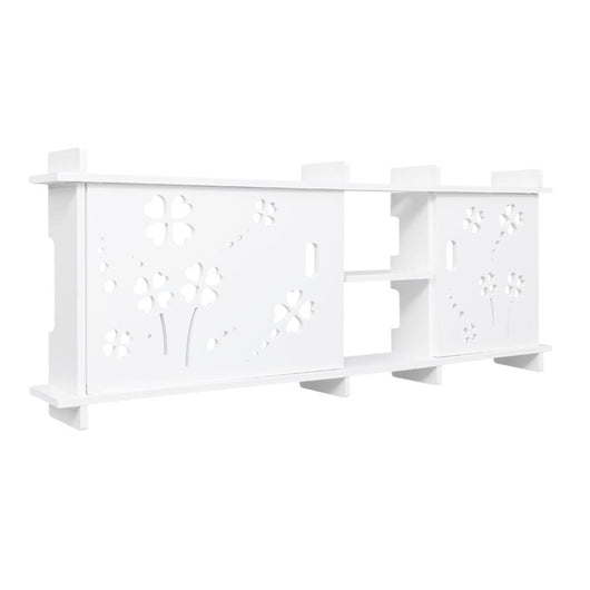 Wood-plastic Board Multi-functional Carved Overhead Storage Rack White