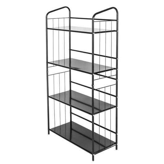 4-layer Portable Practical Metal Bookrack and Storage Rack Black