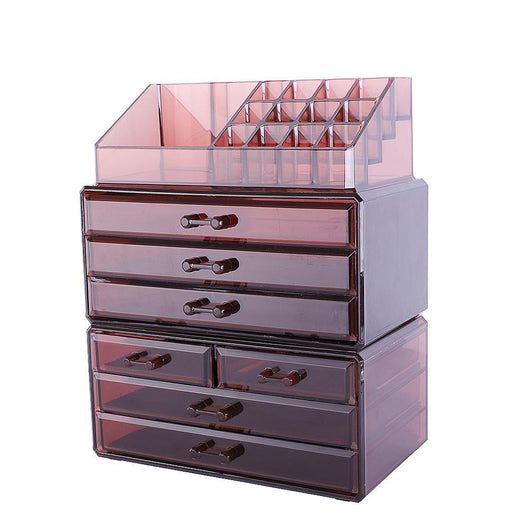 SF-1122-7 3Pcs/Set Plastic Cosmetics Storage Rack Transparent 5 Large & 2 Small Drawers Coffee