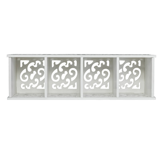 Wood Plastic Board Four Lattices Carved Overhead Storage Rack White