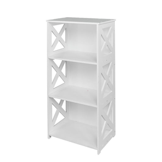 Wood-plastic Board Three Tiers Triangle Storage Rack White