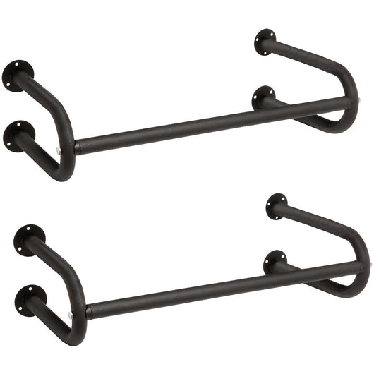 Set of 2 Black Metal Wall Mounted Bathroom Hanging Towel Bar, Bedroom Clothing Rod Rack