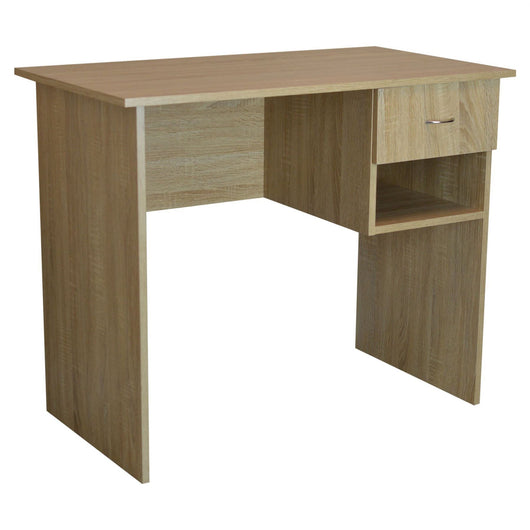 Harbour Housewares Wooden Office Desk with Drawers - Brown