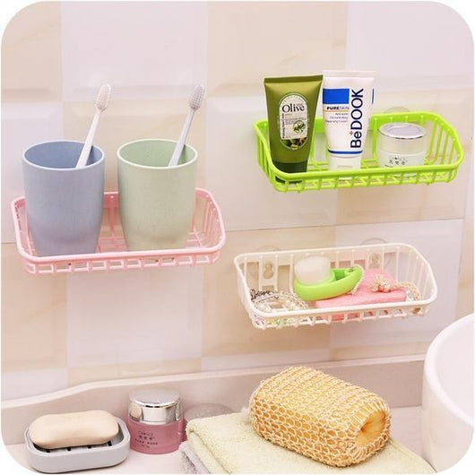 Double Suction Cup Kitchen Drainage Shelf Multifunctional Dishwashing Sponge Storage Rack