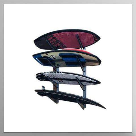 Ultimate Board Sports Wall Mount Storage Rack, Heavy Duty Steel Board Stand, Rubber Padded Fingers, Store & Display Up to 4 Surfboards, Wakeboards, Snowboards, Skiis, Longboards & More